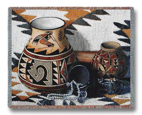 Southwest Pot Tapestry Throw, 70in x 54in