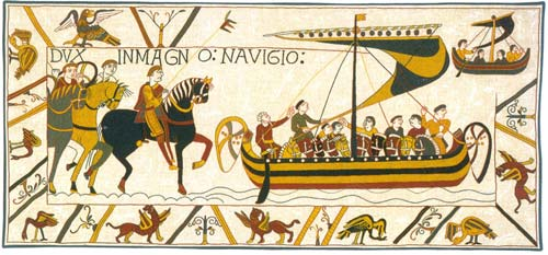 L'Embarquement Medieval Wall Tapestry - Bayeux Design, 17in X 40in