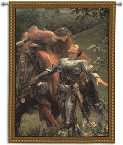 La Belle Dame Sans Merci II Medieval Arthurian Tapestry Wall Hanging, 66in x 53in