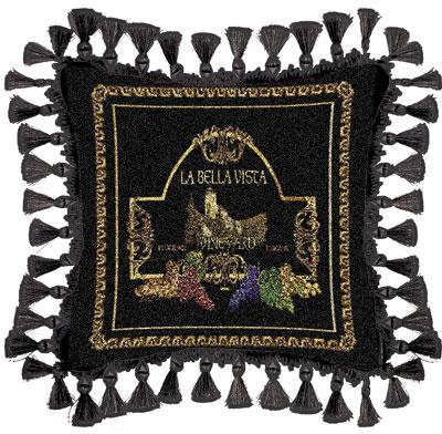 La Bella Classic Tapestry Cushion - Black Style, 27in x 27in
