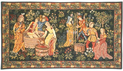 La Recolte Des Raisins Medieval Tapestry Wall Hanging - The Wine Making Scene, 26in X 50in