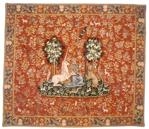 La Vue (Sight) Medieval Wall Tapestry - Unicorn Picture, 37in x 43in
