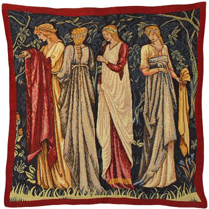 Ladies of Camelot Tapestry Cushion Cover - Classic Home Decor Collection, 18in x 18in cushion cover