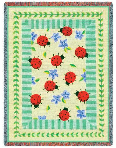 Lady Bug Garden Tapestry Throw, 54in x 70in