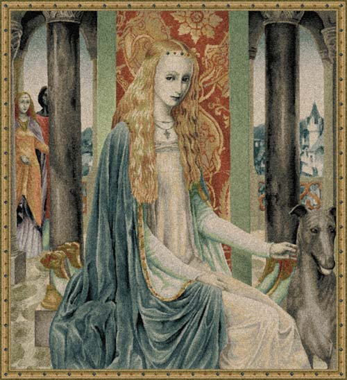 Lady Owein Medieval Tapestry Wall Hanging - Beautiful Woman Portrait, 34in X 32in