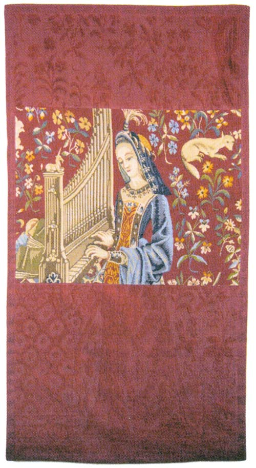 Lady With The Organ II Medieval Tapestry Wall Hanging - The Sense Of Hearing, 50in X 27in