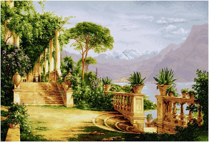 Lake Como III Mediterranean Terrace Tapestry Wall Hanging, H56in x W90in