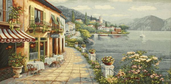 Lake Como IV Tapestry Wall Hanging, H27in x W52in