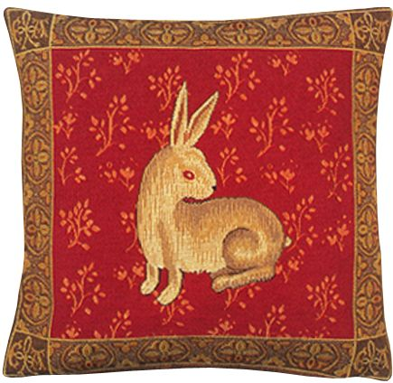 Lapin De Cluny Tapestry Cushion Cover - Cluny Home Decor Collection, 18in x 18in cushion cover
