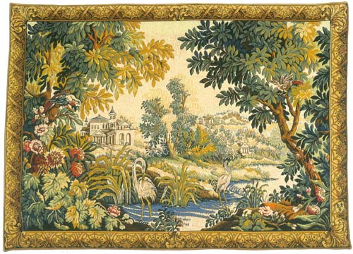 Le Lignon Classique Pastoral Landscape Wall Tapestry - Egrets By The River, 50in x 72in