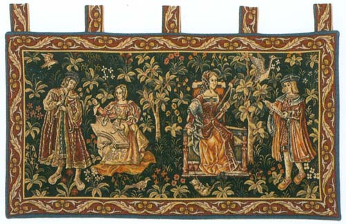 Lecture Et Concert Medieval Wall Tapestry - The Noble Scene, 20in X 38in