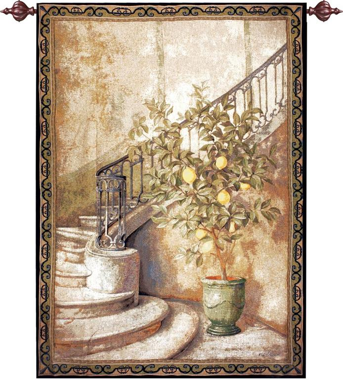 Lemon Stairwell Tapestry Wall Hanging, H56in x W80in