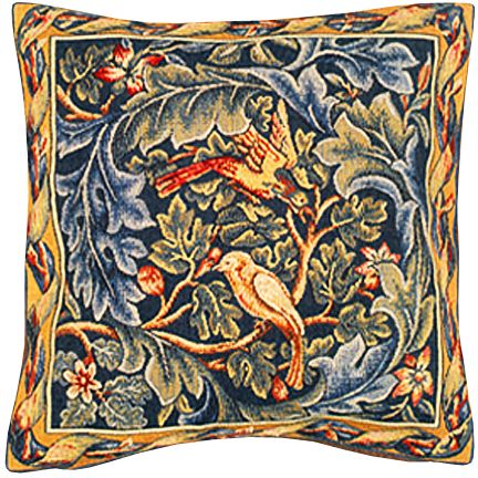 Les Oiseaux Tapestry Cushion Cover - Classic Home Decor Collection, 18in x 18in cushion cover