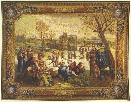 Les Patineurs Pastoral Tapestry Wall Hanging, 58in X 78in