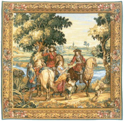 Les Sonneurs Du Roi - Les Tambours (Centre Panel) Medieval Tapestry Wall Hanging, 48in X 48in