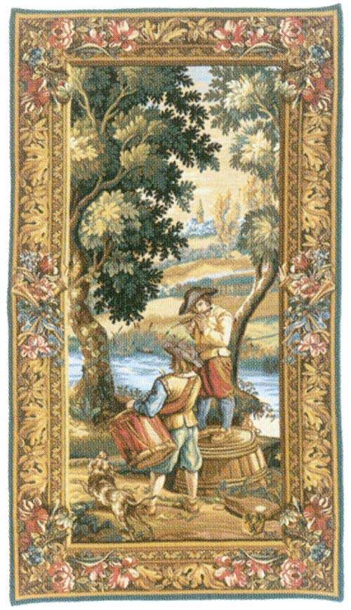 Les Sonneurs Du Roi - Les Tambours (Right Panel) Medieval Tapestry Wall Hanging, 70in X 36in