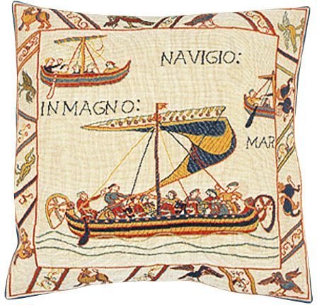 Les Vaisseaux Tapestry Cushion Cover - European Home Decor Collection, 18in x 18in cushion cover