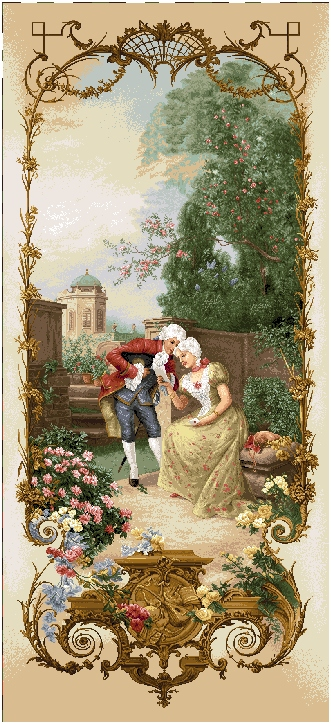 Lesson Of Eloquence Romantic Pastoral Scene Tapestry Wall Hanging, H68inx W28in