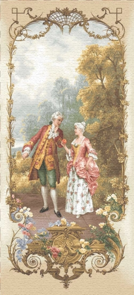 Lesson Of Temptation Tapestry Wall Hanging - Romantic Pastoral Scene, H43in x W20in
