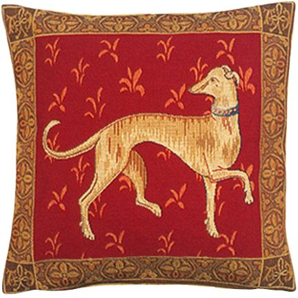Levrier De Cluny Tapestry Cushion Cover - Cluny Home Decor Collection, 18in x 18in cushion cover