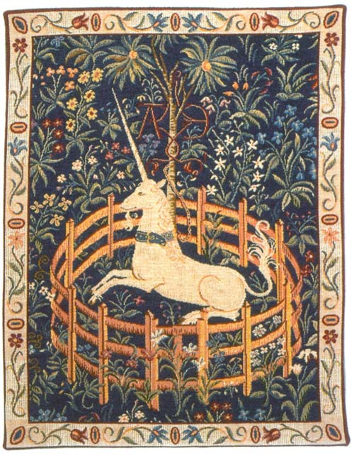Licorne Captive Medieval Wall Tapestry - Unicorn Picture, 44in X 35in