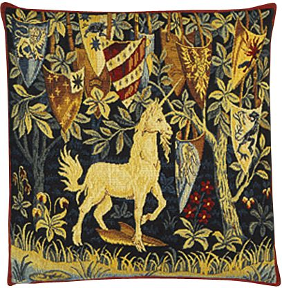 Licorne Heraldique Unicorn Tapestry Cushion Cover - Classic Home Decor Collection, 18in x 18in cushion cover