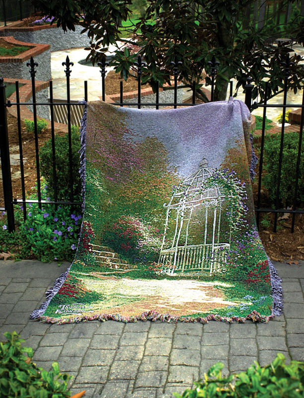 Lilac Gazebo Scenic Tapestry Throw - Thomas Kinkade Painting, 50in X 60in