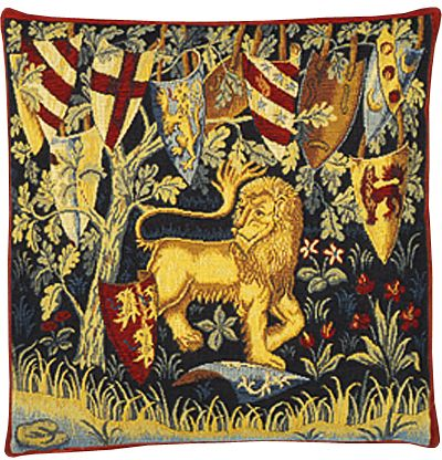 Lion Heraldique Tapestry Cushion Cover - Classic Home Decor Collection, 18in x 18in cushion cover