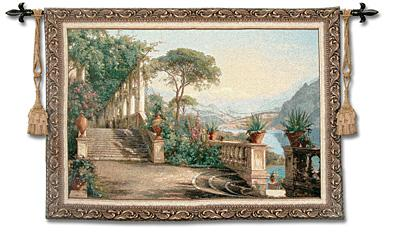 Lodge at Lake Como Mediterranean Seaside Wall Tapestry, 53in x 36in