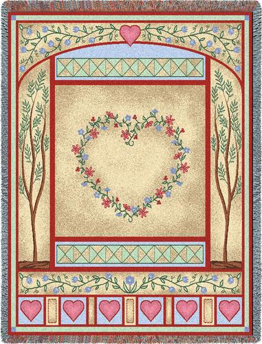 Love Quilt Pastel Tapestry Throw, 54in x 70in