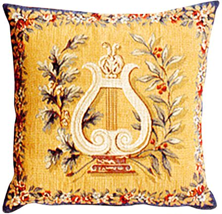 Lyre Tapestry Cushion Cover - European Home Decor Collection, 18in x 18in cushion cover