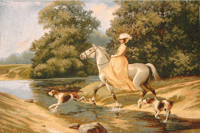 Magic Moments Romantic Tapestry - Portrait Of A Lady Riding Horse, 30in X 44in