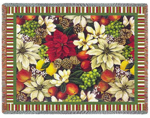 Magnolia Poinsetta Tapestry Throw, 53in x 70in