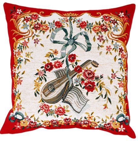 Mandoline Rouge Tapestry Cushion Cover - European Home Decor Collection, 18in x 18in cushion cover