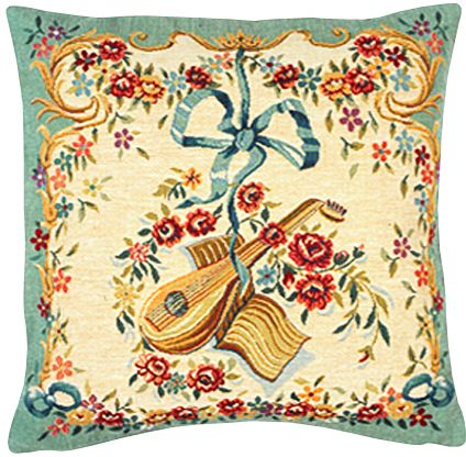 Mandoline Vert Tapestry Cushion Cover - European Home Decor Collection, 18in x 18in cushion cover