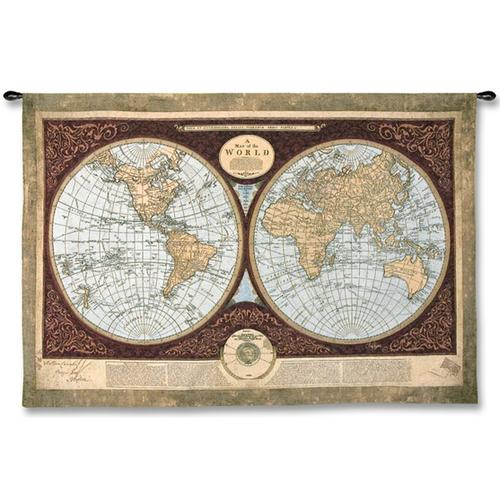 Map of the World Map Wall Tapestry, 53in x 36in
