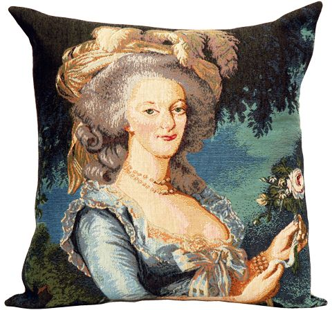 Marie Antoinette Tapestry Cushion Cover - Classic Home Decor Collection, 18in x 18in cushion cover