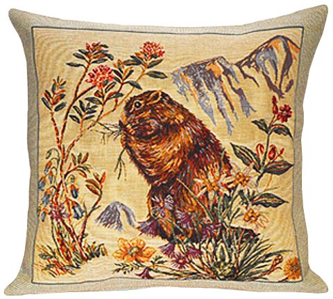 Marmottes Tapestry Cushion Cover - Animal Home Decor Collection, 18in x 18in cushion cover