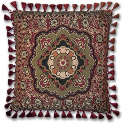Masala Anise Ornamental Tapestry Cushion - Asian Style, 24in x 24in