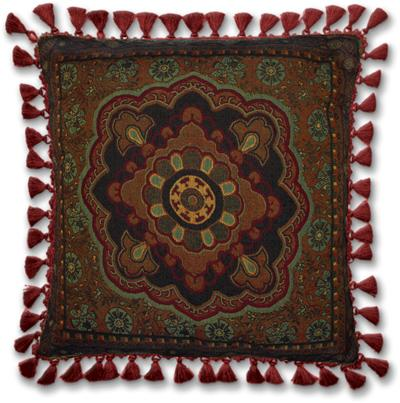 Masala Cinnamon Ornamental Tapestry Cushion - Asian Style, 24in x 24in