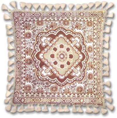 Masala Clove Ornamental Tapestry Cushion - Asian Style, 24in x 24in