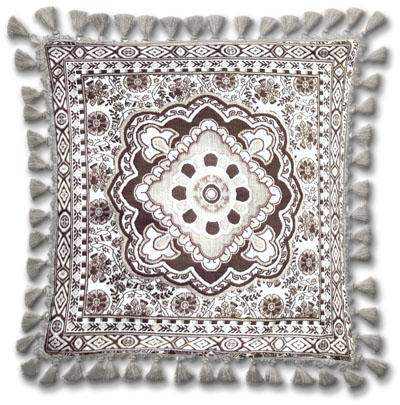 Masala Licorice Ornamental Tapestry Cushion - Asian Style, 24in x 24in