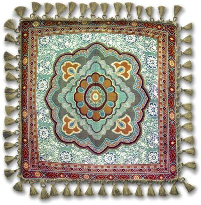 Masala Mint Ornamental Tapestry Cushion - Asian Style, 24in x 24in