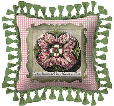 Medallion I Modern Tapestry Cushion - Botanical Design, 27in x 27in