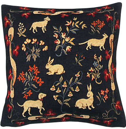 Medieval Design Bleu Tapestry Cushion Cover - Classic Home Decor Collection, 18in x 18in cushion cover