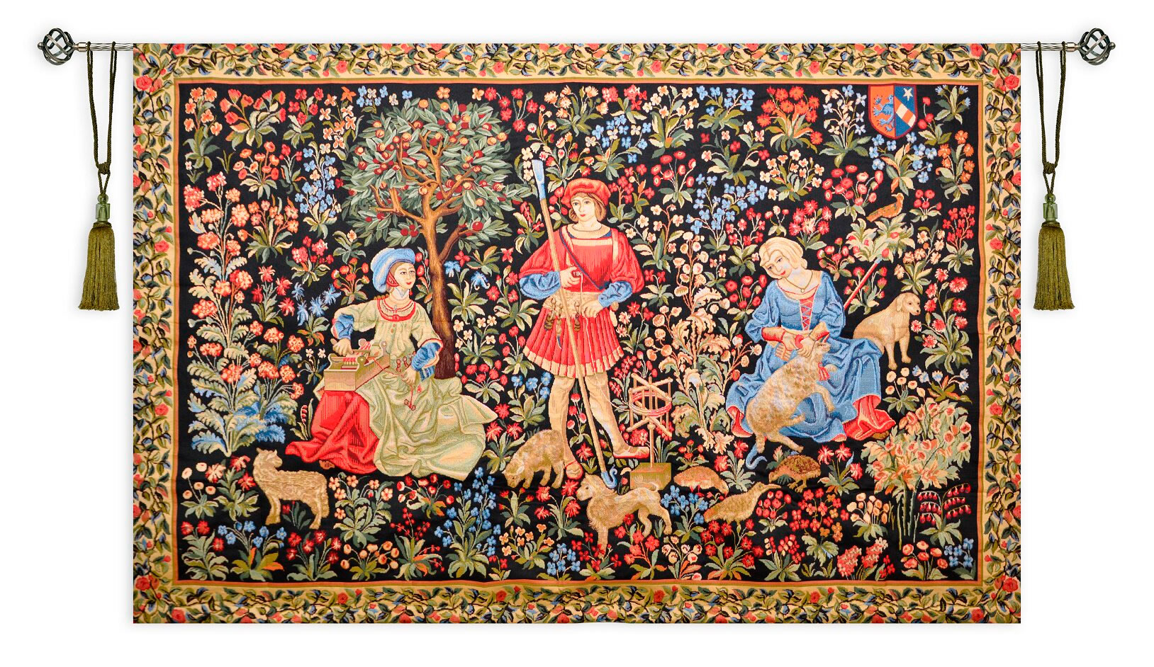 Medieval Shearing II Mille Fleur Tapestry Tapestry Wall Hanging, H56in x W80in