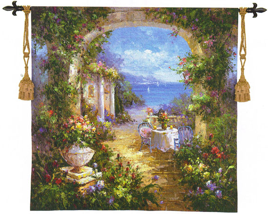 Mediterranean Arches II Landscape Tapestry Wall Hanging, 53in x 54in