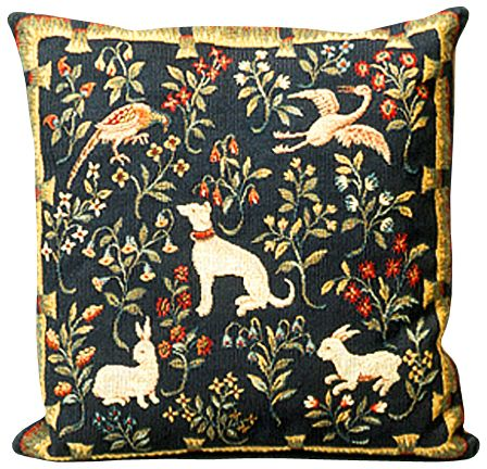Mille Fleurs Animals Tapestry Cushion Cover - Classic Home Decor Collection, 18in x 18in cushion cover