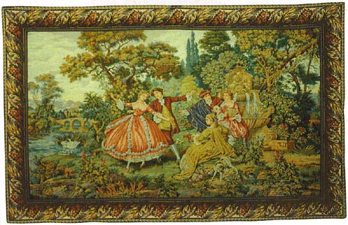 Francois Boucher Pastoral Tapestry Romantic Scene La Fontaine - Fountain, 46in X 60in