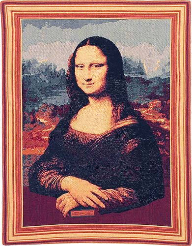 Mona Lisa Tapestry Wall Hanging Reproduction, 19in x 14in